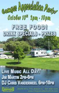 Camper Appreciation Party - October 10, 2015 - 2 pm FREE FOOD. Drink Specials. Prizes! - Live Music All Day! Jim Martin 2-6pm and DJ Chris Vanderwee l from 6-10pm.